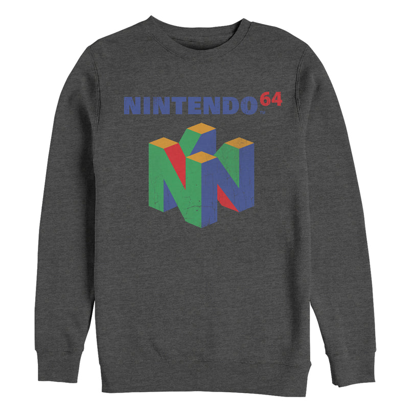 Nintendo Men's Classic N64 Logo  Sweatshirt  Charcoal Heather  M