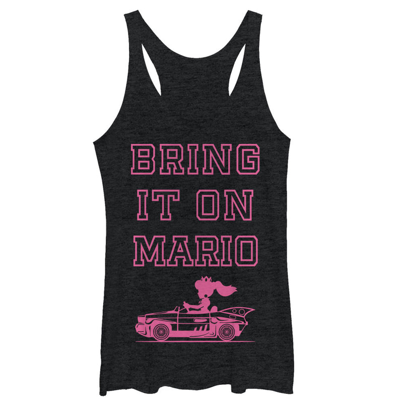 Nintendo Women's Princess Peach Bring it On  Racerback Tank Top  Black Heather  S