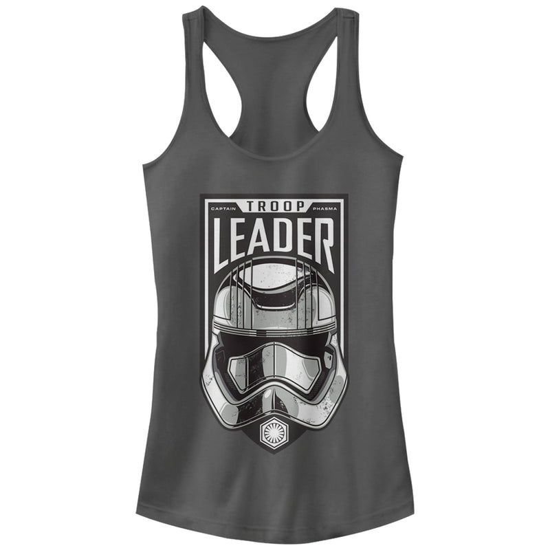 Star Wars The Force Awakens Junior's Captain Phasma Troop Leader  Racerback Tank Top  Charcoal  L