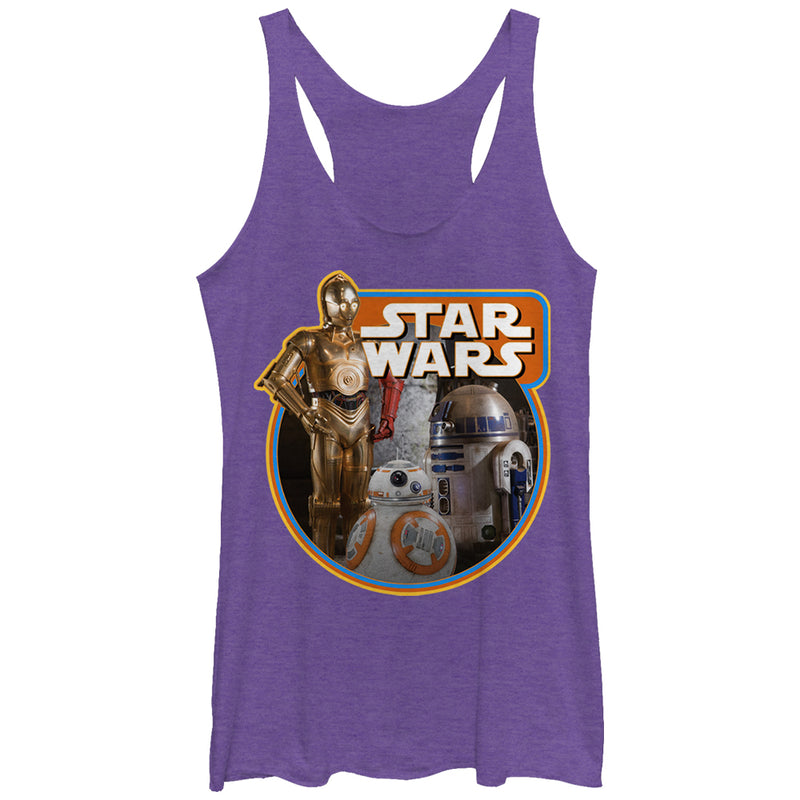 Star Wars The Force Awakens Women's Retro Droids  Racerback Tank Top  Purple Heather  L