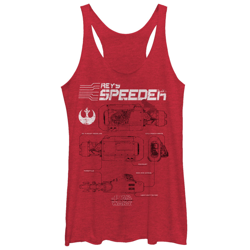 Star Wars The Force Awakens Women's Rey's Speeder Schematics  Racerback Tank Top  Red Heather  S