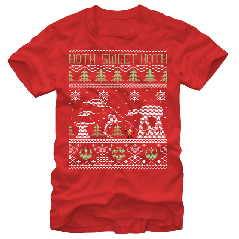 Star Wars Men's Ugly Christmas Hoth Sweet Hoth  T-Shirt  Red  S