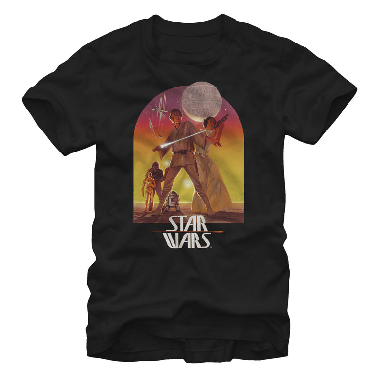 Star Wars Men's Ralph McQuarrie Luke and Leia  T-Shirt  Black  S