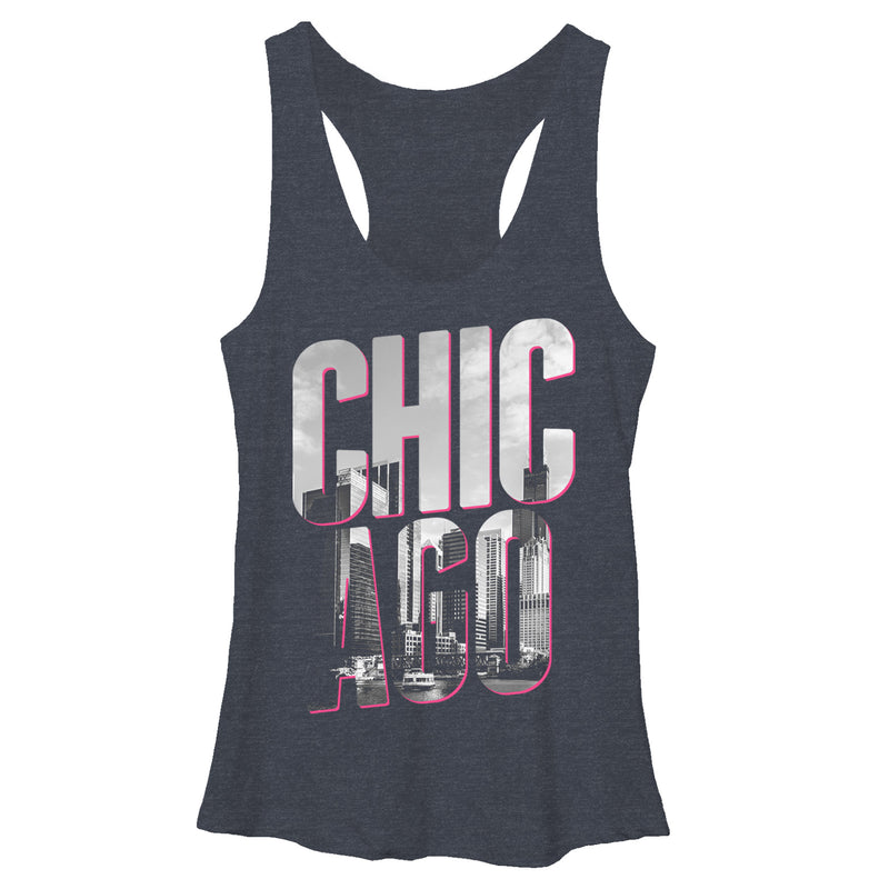 Lost Gods Women's Chicago City Chic  Racerback Tank Top  Navy Blue Heather