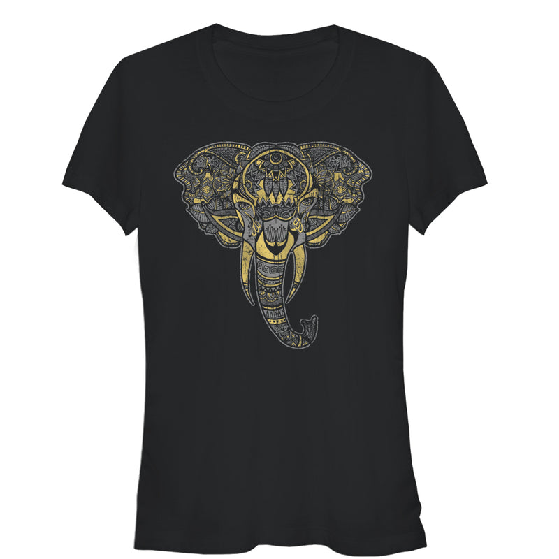 Lost Gods Junior's Henna Elephant Face  T-Shirt  Black  L