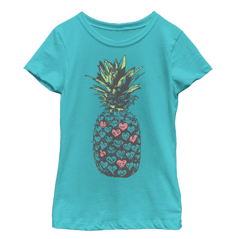 Lost Gods Heart Pineapple Girls Graphic T Shirt