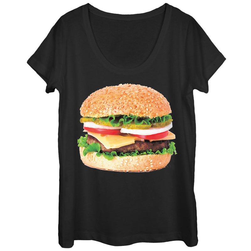 Lost Gods Cheeseburger Love Womens Graphic Scoop Neck