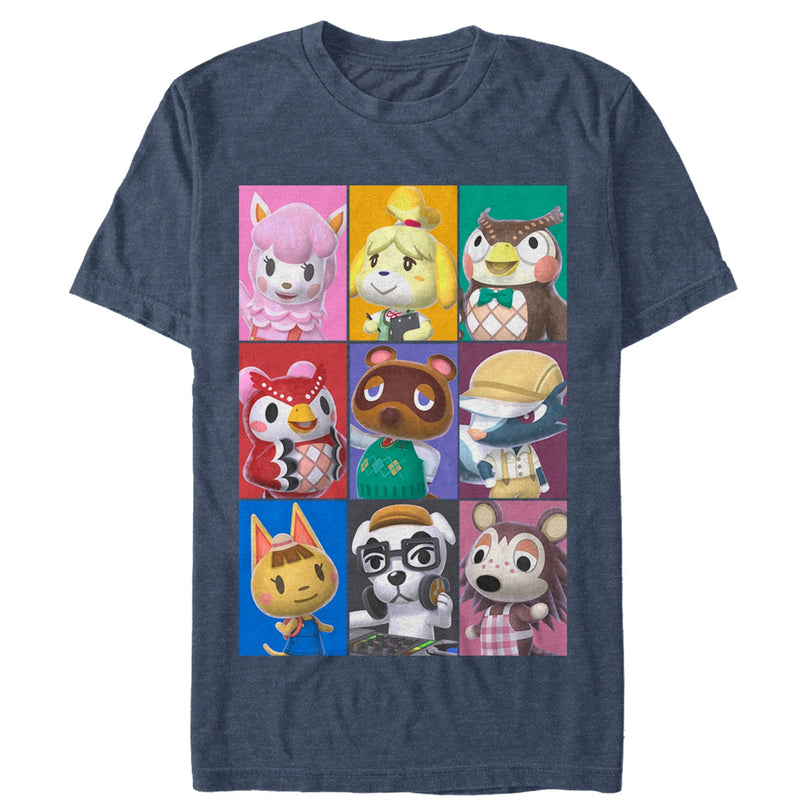 Nintendo Men's Animal Crossing Characters  T-Shirt  Navy Blue  S