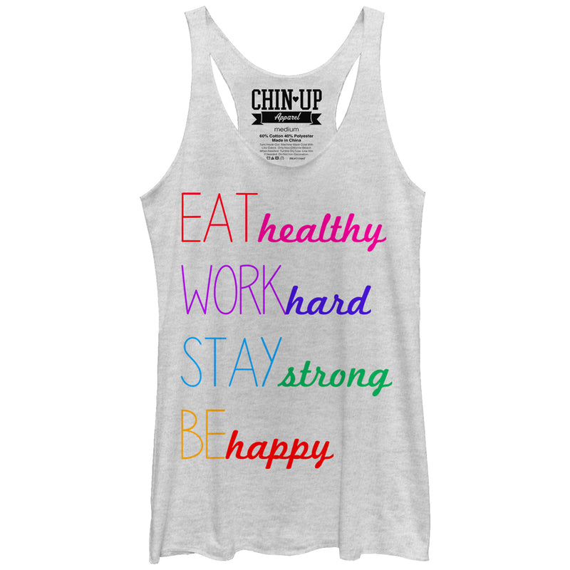 CHIN UP Women's Happy  Racerback Tank Top  White Heather  XL