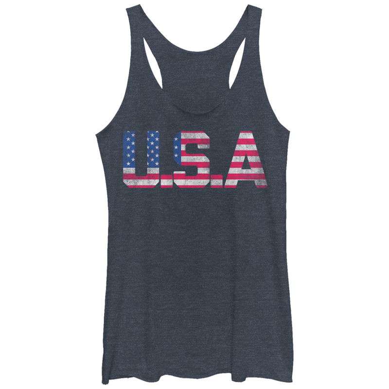 Lost Gods Women's Fourth of July  USA Stars and Stripes  Racerback Tank Top  Navy Blue Heather  L