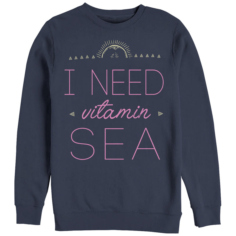 CHIN UP Women's Need Vitamin Sea  Sweatshirt  Navy Blue  S