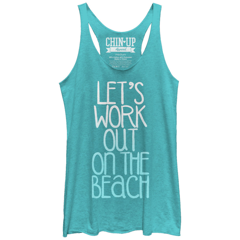 CHIN UP Work Out on the Beach Womens Graphic Racerback Tank