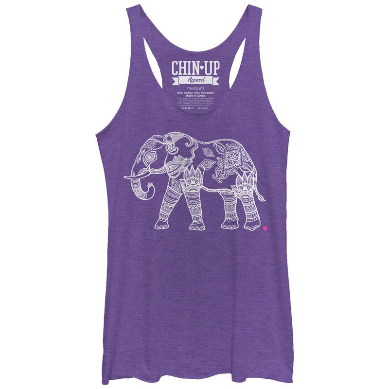 CHIN UP Women's Zen Elephant  Racerback Tank Top  Purple Heather  L