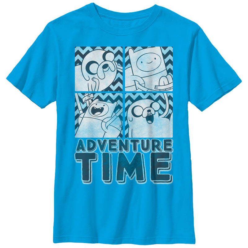 Adventure Time Boy's Finn and Jake Box  T-Shirt  Turquoise