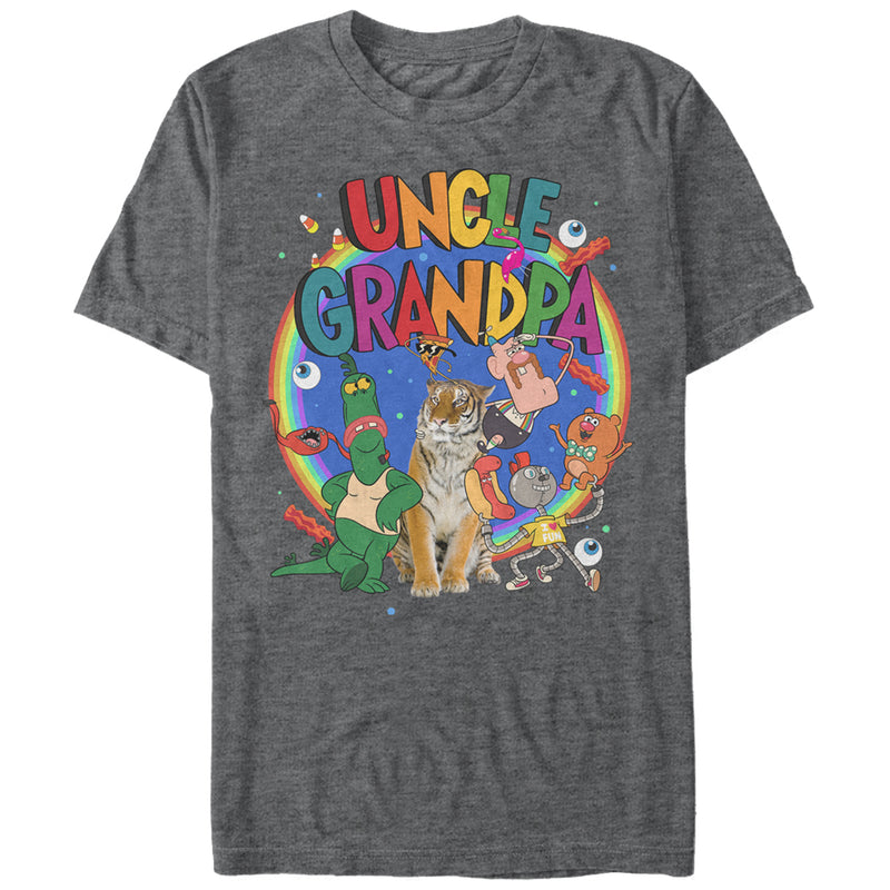 Uncle Grandpa Men's Characters  T-Shirt  Charcoal Heather  M