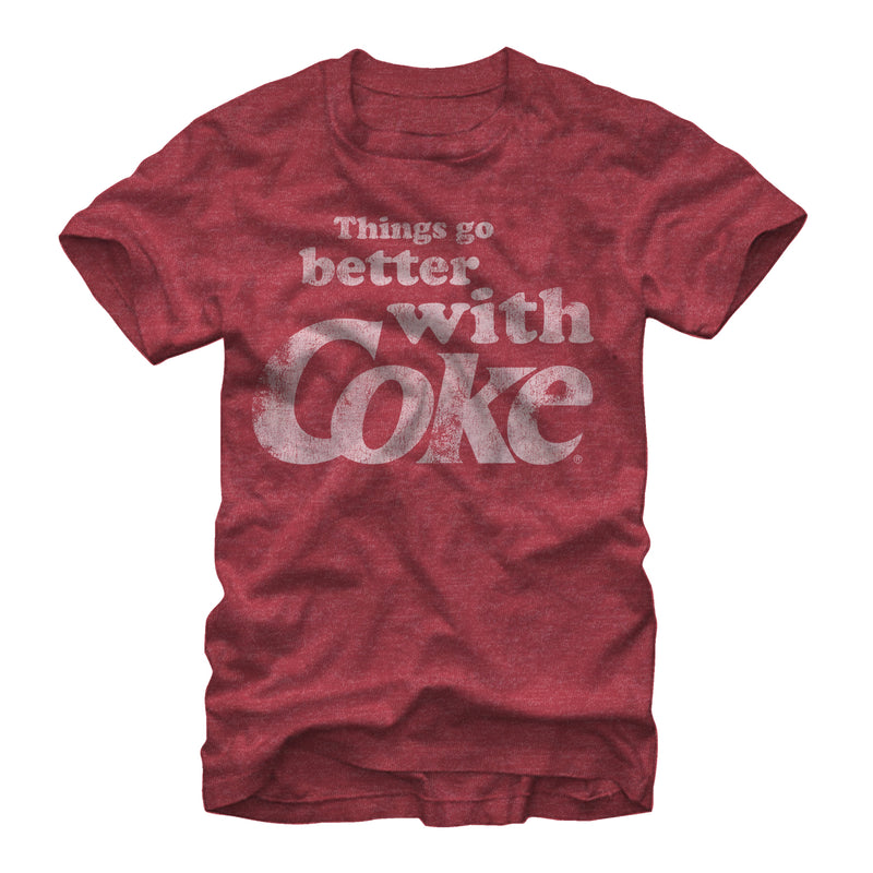 Coca Cola Men's Things Go Better With Coke  T-Shirt  Red Heather  L