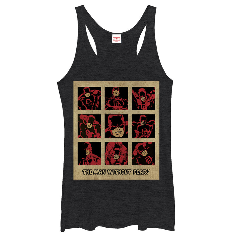 Marvel Women's Daredevil Classic Man Without Fear  Racerback Tank Top  Black Heather  S