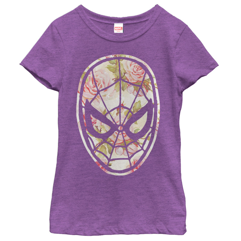 Marvel Girl's Spider-Man Floral Print  T-Shirt  Purple Berry  S