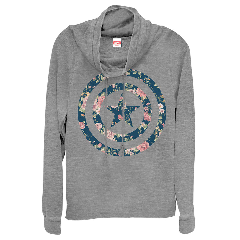 Marvel Junior's Captain America Floral Print  Cowl Neck Sweatshirt  Gray Heather  XL