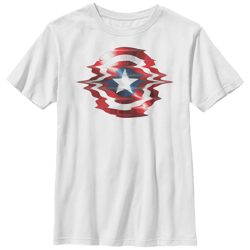 Marvel Boy's Captain America Shield Glitch  T-Shirt  White  M