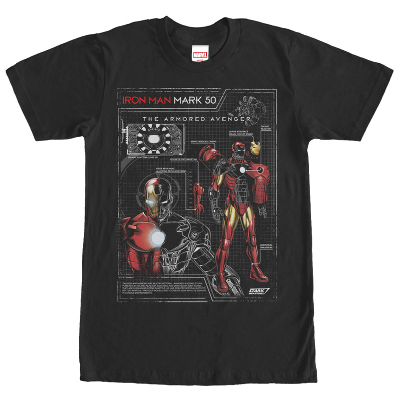 Marvel Iron Man Mark 50 Mens Graphic T Shirt