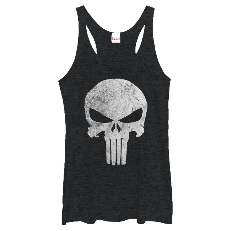 Marvel Women's Punisher Retro Skull Symbol  Racerback Tank Top