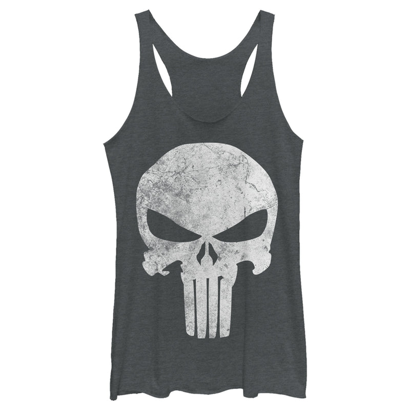 Marvel Women's Punisher Retro Skull Symbol  Racerback Tank Top  Charcoal Heather  L
