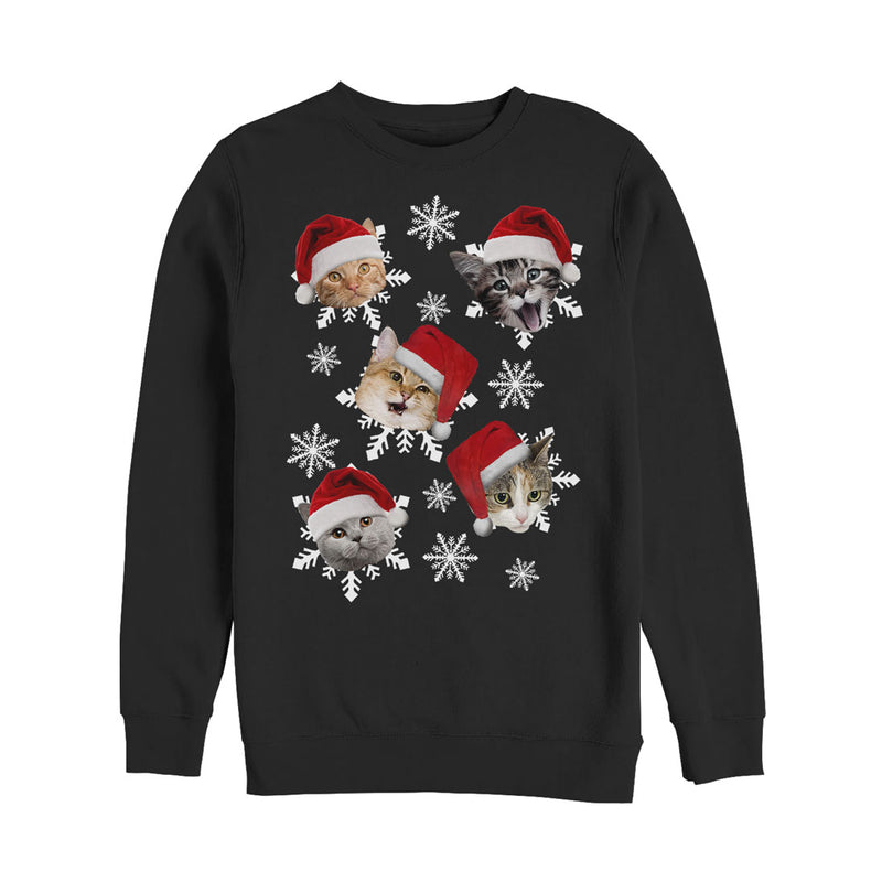 Lost Gods Men's Ugly Christmas Cat Snowflakes  Sweatshirt  Black