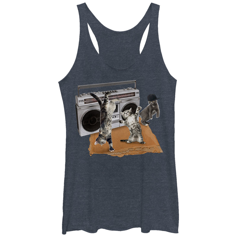 Lost Gods Women's Cat Breakdancing Boombox  Racerback Tank Top  Navy Blue Heather