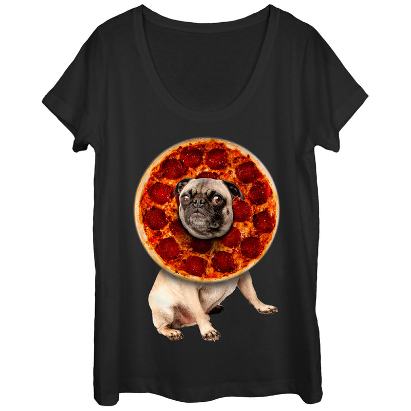 Lost Gods Pepperoni Pizza Pug Womens Graphic Scoop Neck