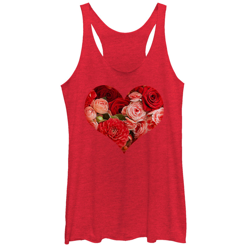 Lost Gods Women's Floral Print Heart  Racerback Tank Top  Red Heather  M