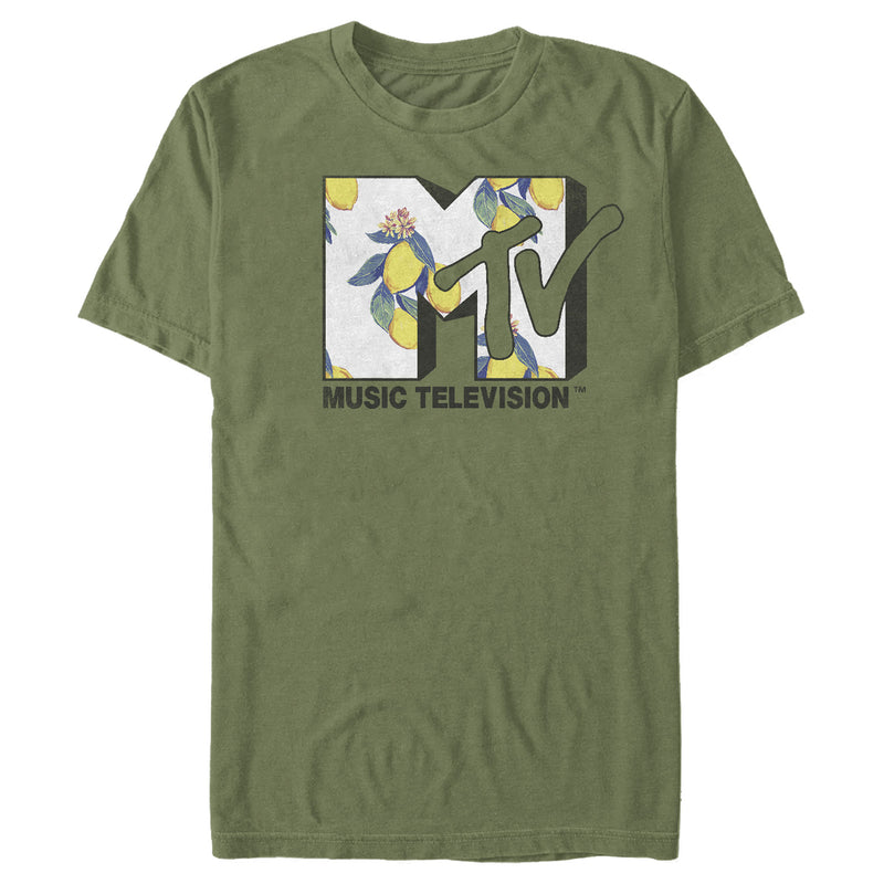 MTV Men's Flower Logo  T-Shirt  Military Green  M