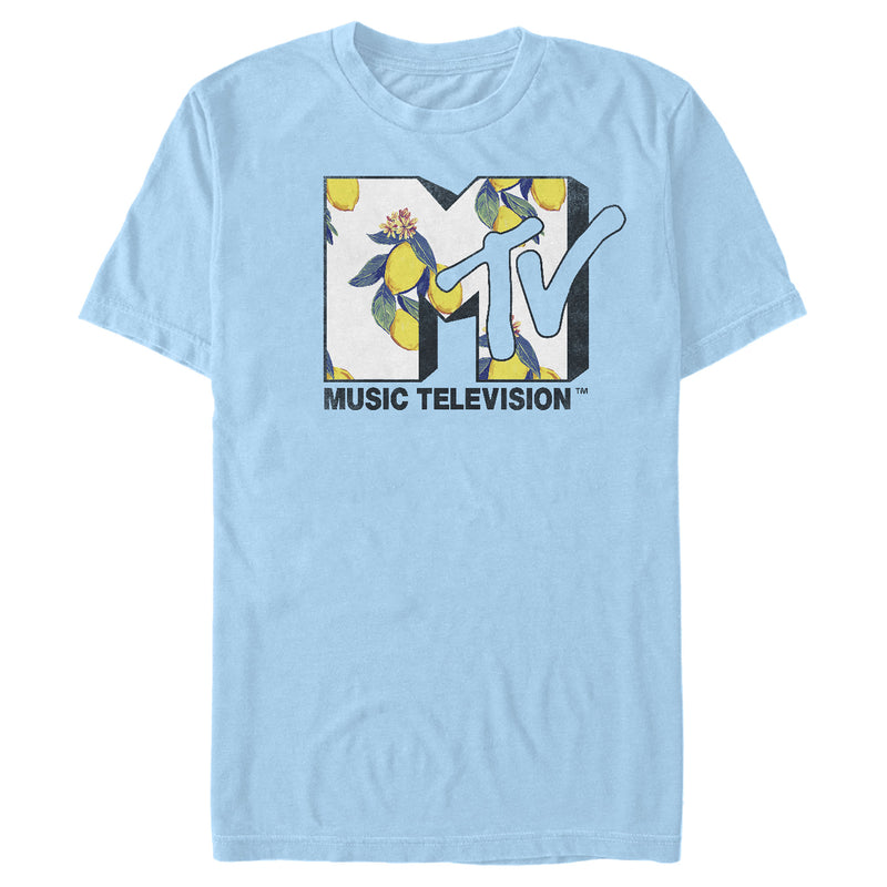 MTV Men's Flower Logo  T-Shirt  Light Blue  M