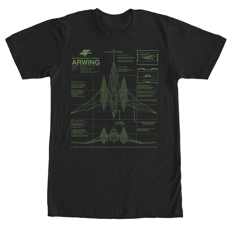 Nintendo Star Fox Arwing Schematics Mens Graphic T Shirt
