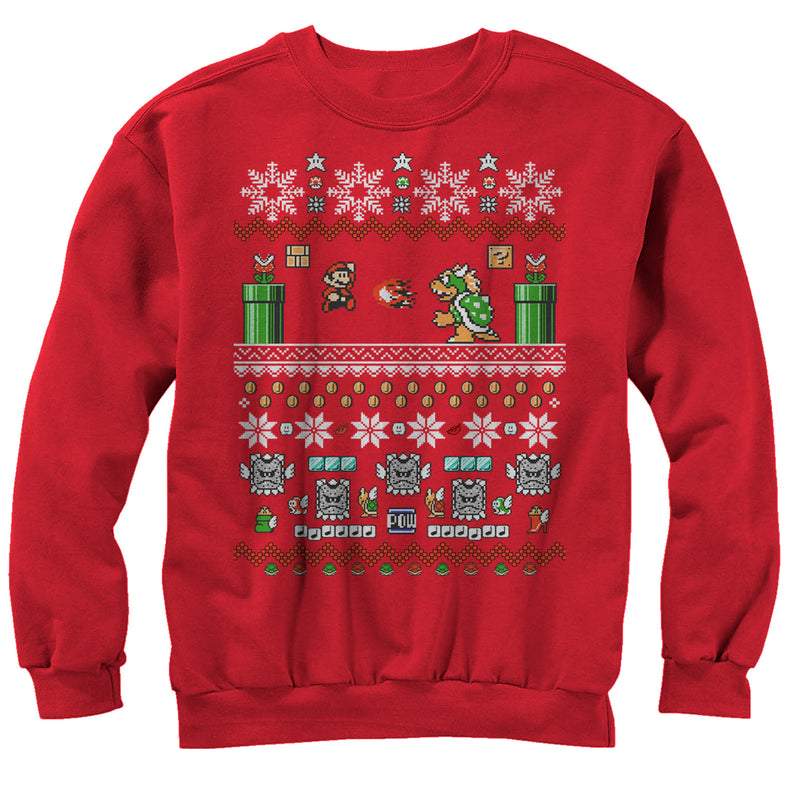 Nintendo Mario and Bowser Ugly Christmas Sweater Mens Graphic Sweatshirt