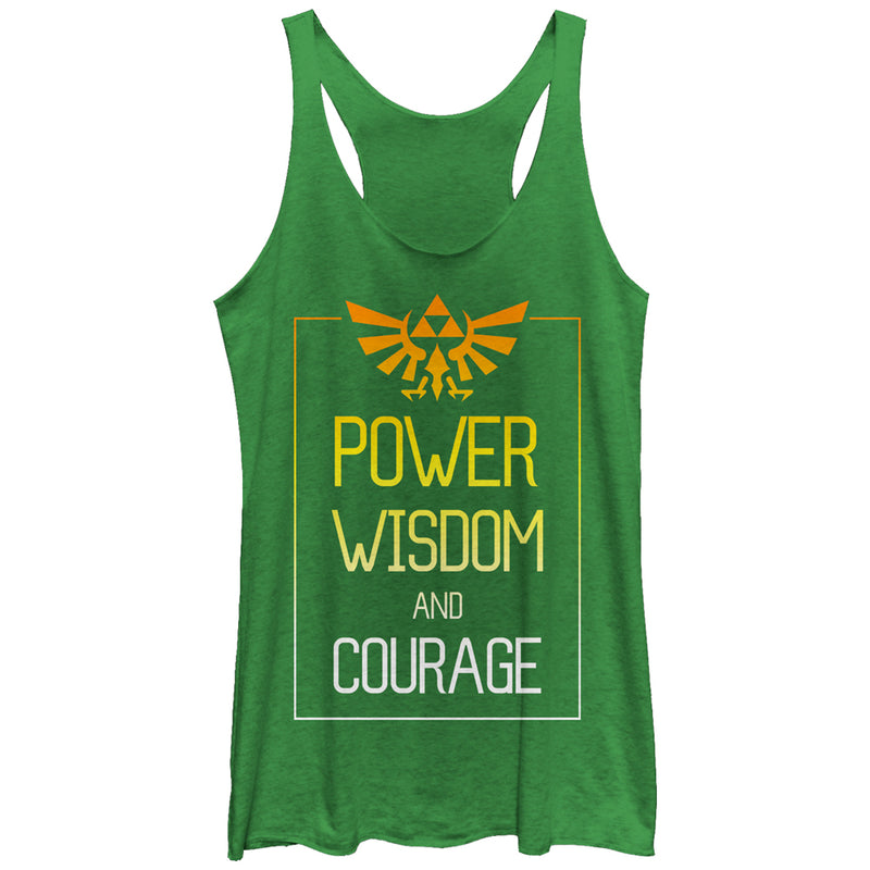 Nintendo Legend of Zelda Power Wisdom Courage Womens Graphic Racerback Tank