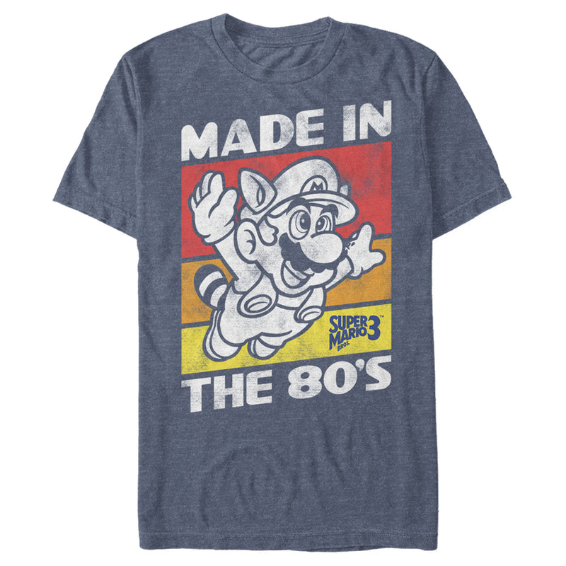 Nintendo Men's Raccoon Mario Made in the 80's  T-Shirt  Navy Blue Heather  XL