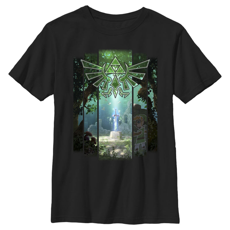Nintendo Boy's Zelda Sword in the Stone  T-Shirt  Black  XL