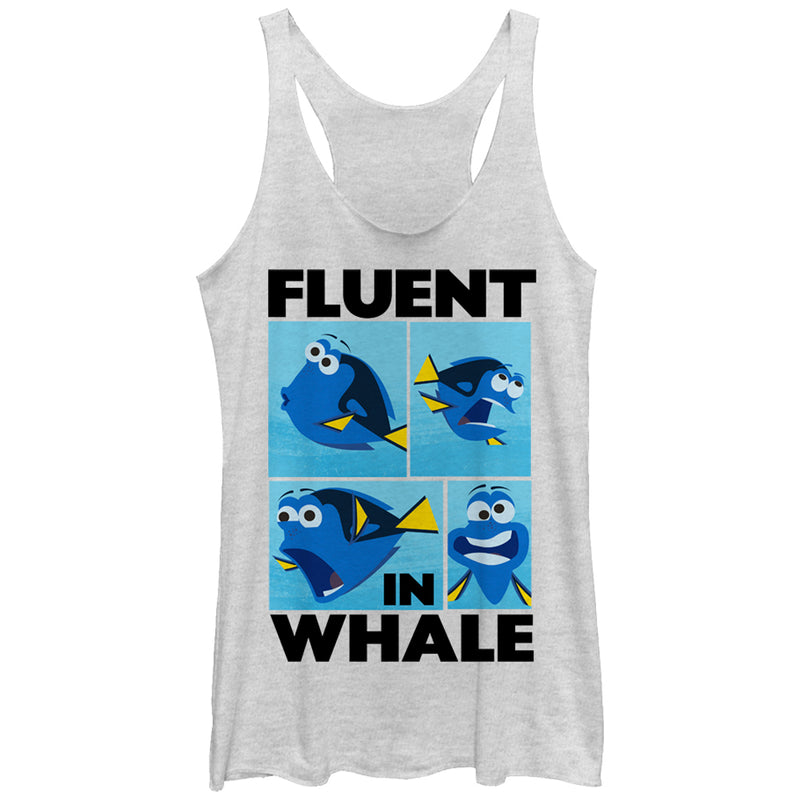 Finding Dory Women's Fluent in Whale  Racerback Tank Top  White Heather  XL
