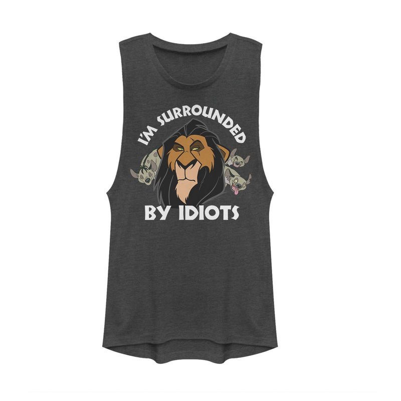 Lion King Scar Surrounded by Idiots Juniors Graphic Festival Muscle Tee