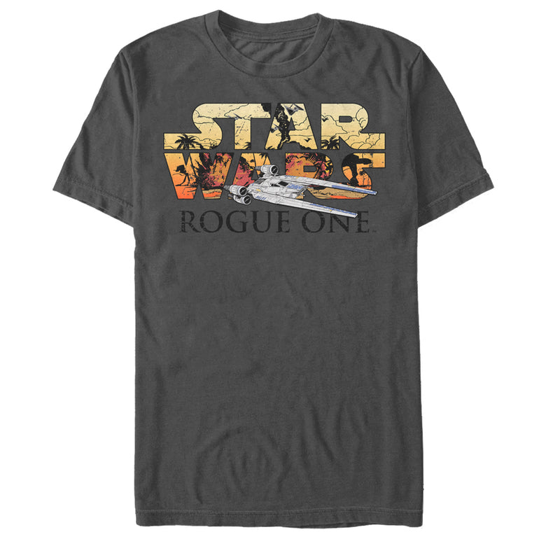 Star Wars Rogue One Men's Rebel U-Wing Battle Logo  T-Shirt  Charcoal  S