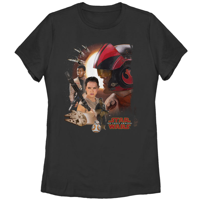 Star Wars The Force Awakens Women's Characters  T-Shirt  Black  S
