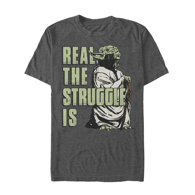 Star Wars Men's Yoda Real the Struggle Is  T Shirt Charcoal Heather S