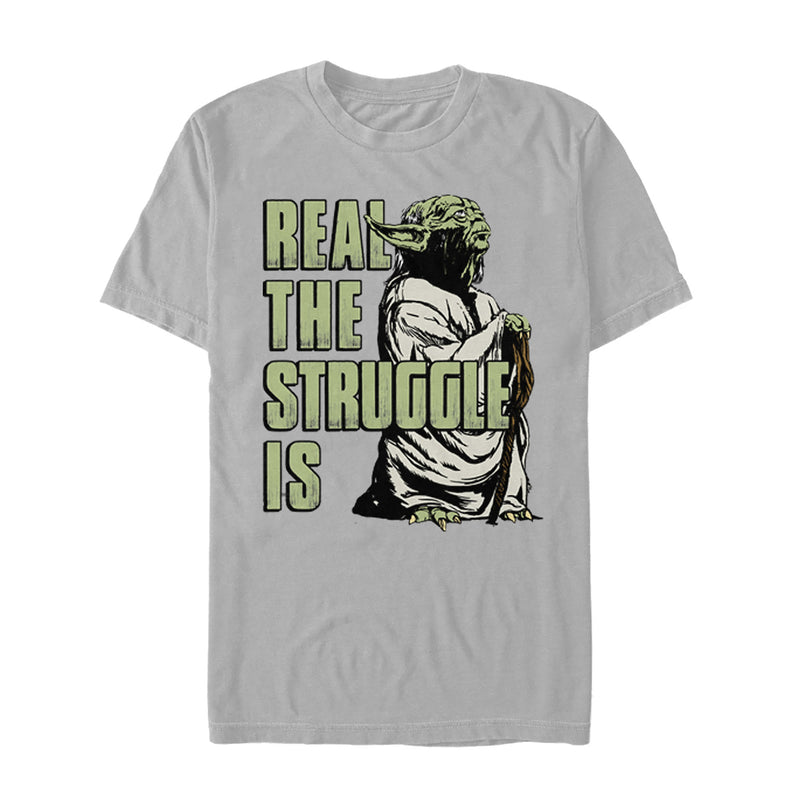 Star Wars Men's Yoda Real the Struggle Is  T Shirt Silver M