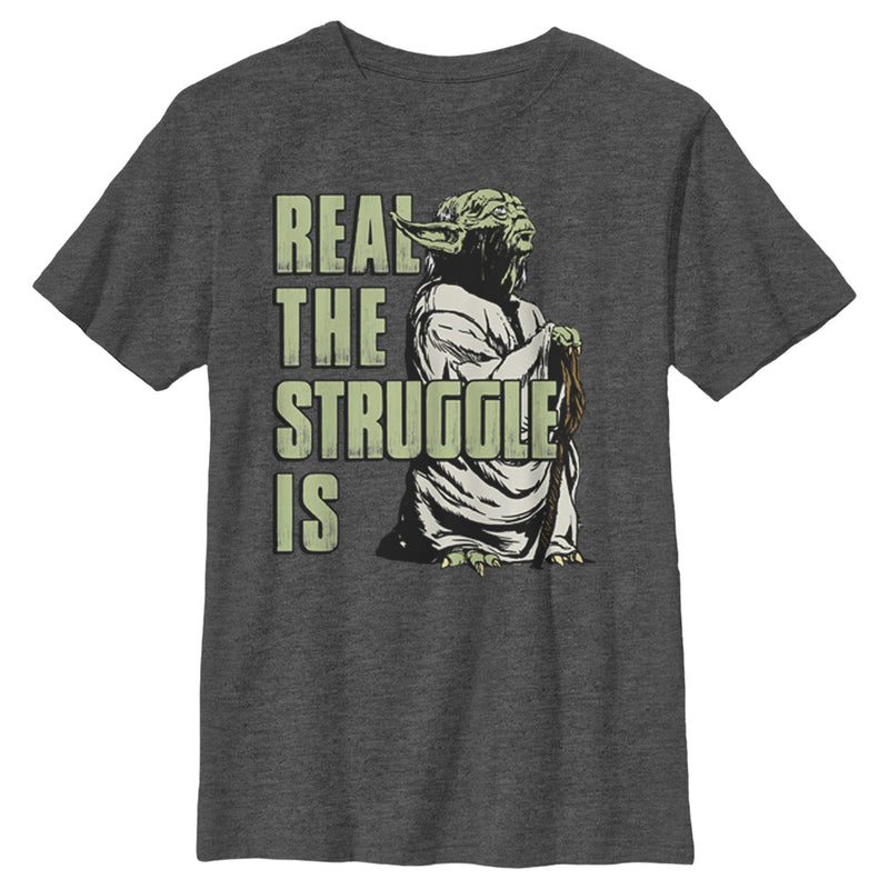 Star Wars Yoda Real the Struggle Is Boys Graphic T Shirt