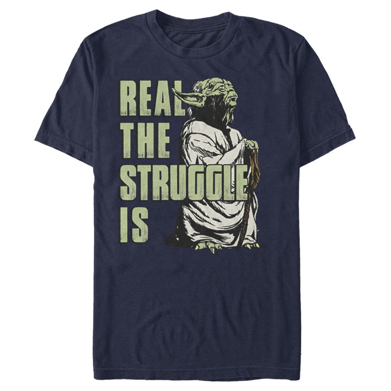 Star Wars Men's Yoda Real the Struggle Is  T Shirt Navy Blue L