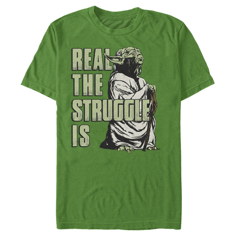 Star Wars Men's Yoda Real the Struggle Is  T Shirt Kelly Green M