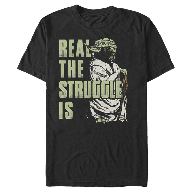Star Wars Men's Yoda Real the Struggle Is  T Shirt Black M