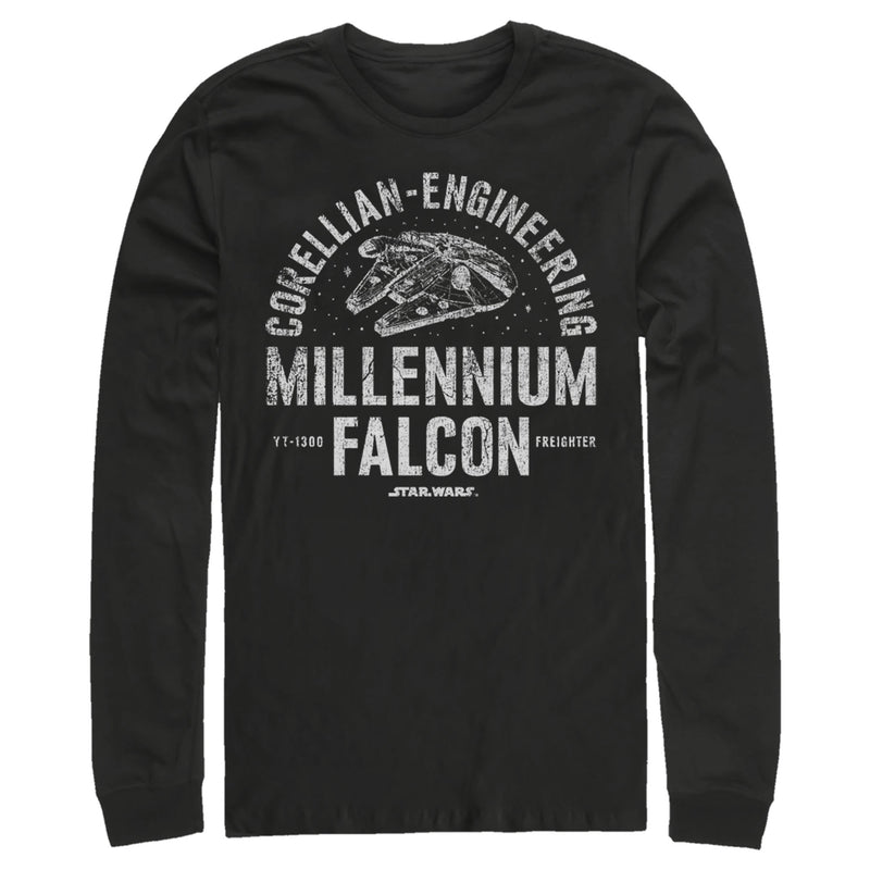 Star Wars Millennium Falcon Corellian Engineering Mens Graphic Long Sleeve Shirt