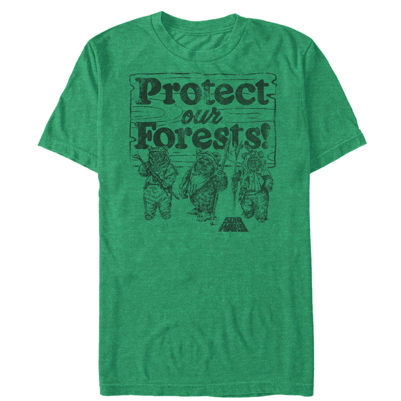 Star Wars Men's Ewok Protect Our Forests  T-Shirt  Kelly Heather  M